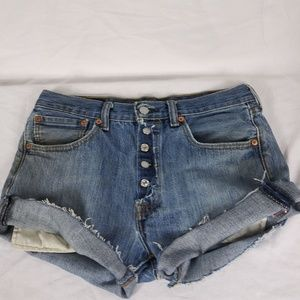 """Levi's 501 Cutoff Shorts 31"""" Exposed Button Fly"""